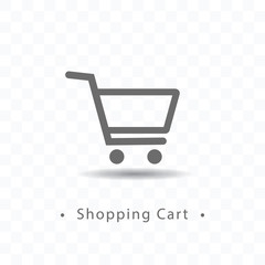 Outlined shopping cart icon vector illustration on transparent background.