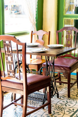 empty table and chair in restaurant