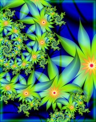 Digital fractal 3D design.Beautiful fractal of colorful flowers on blue background.