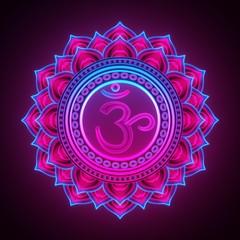 3d render, sacred geometry, Sahasrara chackra symbol, neon light abstract background, spiritual chakra symbol, religious sign, esoteric mandala, modern illustration