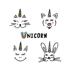 Collection cute unicorns.