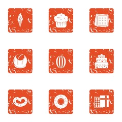 Sweet horn icons set. Grunge set of 9 sweet horn vector icons for web isolated on white background