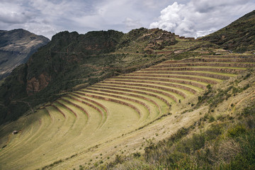 Agricultural terraces in Pisac, Peru