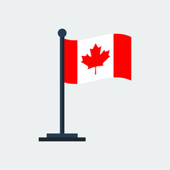 Flag Of Canada. Flag Stand. Vector Illustration