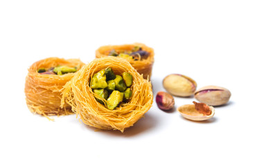 Middle Eastern dessert with pistachio called mabroume