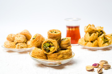 Various Arabic desserts with pistachio