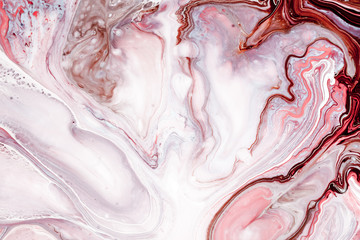 Fototapete - Swirls of marble or the ripples of agate. Liquid marble texture with pink, white and brown colors. Abstract painting background for wallpapers, posters, cards, invitations, websites. Fluid art.