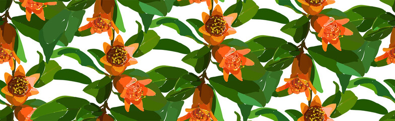 Pomegranate branch seamless pattern. Floral disign vector illustration in hand drawn style. Textile prints, wrapping paper, scrapbook.