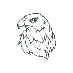 Bald eagle logo. Wild birds drawing. Head of an eagle. Vector graphics to design.