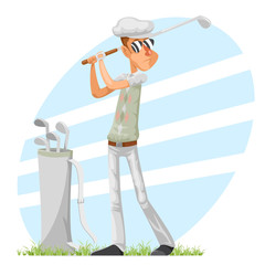 Golfer cool professional player adjusts glove champion golf club isolated cartoon character design vector illustration