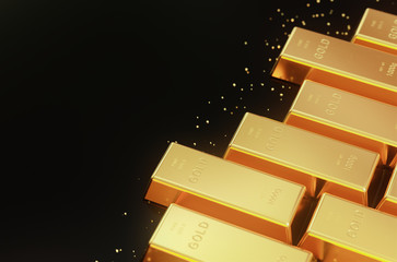 Stacked gold bars,golden ingot background.3d rendering.
