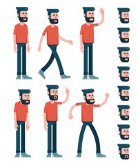 Character male with beard, dressed in red T-shirt. Various poses half turn view. And set of faces with emotions. Flat style. Limbs saved as paths for easy editing.