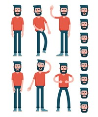 Bearded flat man character in T-shirt is standing, walking, waving his hand, sad, puzzled, angry. And set of faces with different emotions.