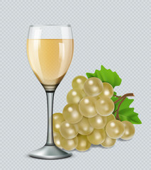 Glass of white wine with grapes. 3d realistic vector image