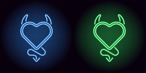 Neon devil heart in blue and green color