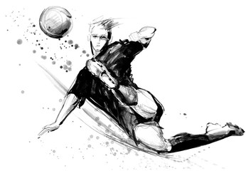 football player in action on white background. Soccer silhouette hand drawn sketch illustration