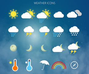 Modern weather icons set. Flat vector symbols on background. Vector EPS10