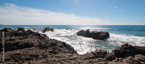 Waves Breaking On Rocky Coast At Cerritos Beach Between Todos Santos And Cabo San Lucas In