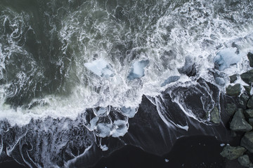 Drone view of ice on shore, Iceland