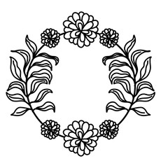 line rustic flowers with petals and leaves decoration