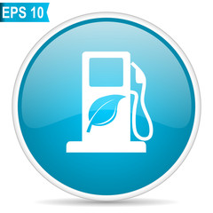 Biofuel blue glossy round vector icon in eps 10. Editable modern design internet button on white background.