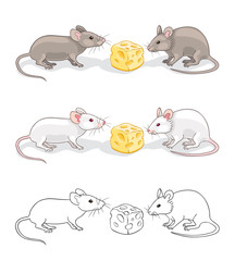Two mice with a piece of cheese