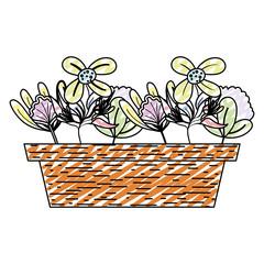doodle exotic flowers plants style inside plantpot