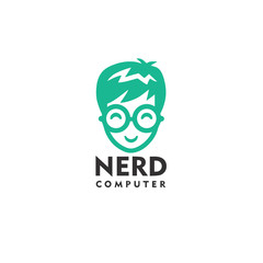 Nerd Computer Logo Design Template Vector