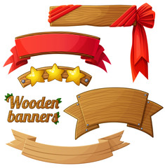 Set of light wooden banners 2