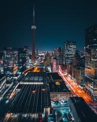 Wall Murals Toronto Epic Futuristic Cityscape at Night in Toronto