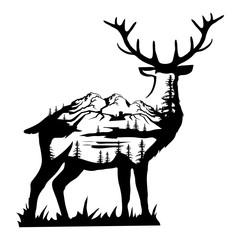 Double exposure deer. Landscape deer in double exposure. Vector artwork.