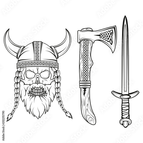 u0026quot viking  hand drawn of a viking in a helmet  sketch of