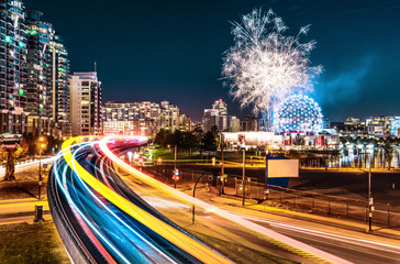 Vancouver City Skyline Transit Travelling with Fireworks