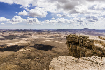 Winter clouds over a rocky desert of the Negev