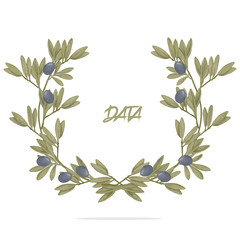 Frame olive Design Olive digital clip art beautiful watercolor drawing flowers illustration similar on white background