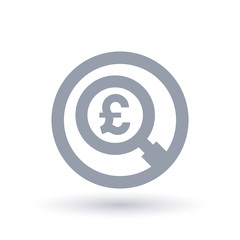 British Pound magnifying glass symbol - Britain currency search icon