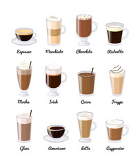 Different coffee drinks isolated on white background.
