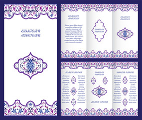 Bright vintage booklet with decorative ornament in Oriental style. Vector template for invitation design, page layouts, brochures, flyers. Purple frame decor.