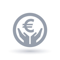 Euro currency hands icon - European money success symbol