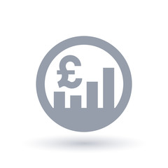 British Pound stock market icon - Great Britain currency exchange rate sign