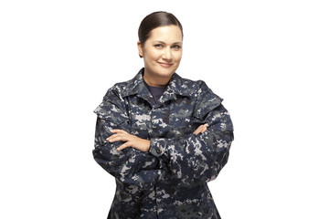 Female in navy uniform with arms crossed