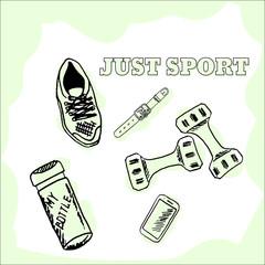 Hand drawn sport stuff vector icons
