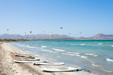Alcudia, Mallorca - Kitesurfing at the beautiful beach of Alcudia