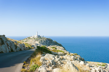 Cap de Formentor, Mallorca - View from a country road onto the lighthouse or Formentor