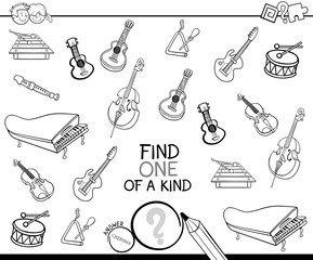 one of a kind with musical instruments color book