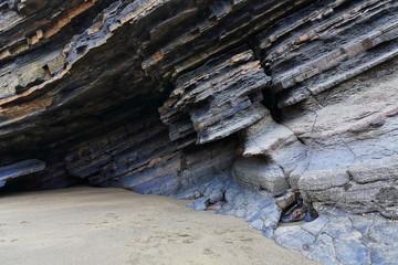 Rock shelter at the foot Gaztelugatxe islet-San Juan hermitage. Bermeo-Bizkaia-Biscay-Spain. 12