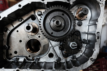 engine crankcase in repair