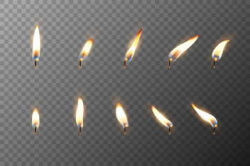 Vector 3d realistic different flame of a candle or match icon set closeup isolated on transparency grid background. Design template, clipart for graphics