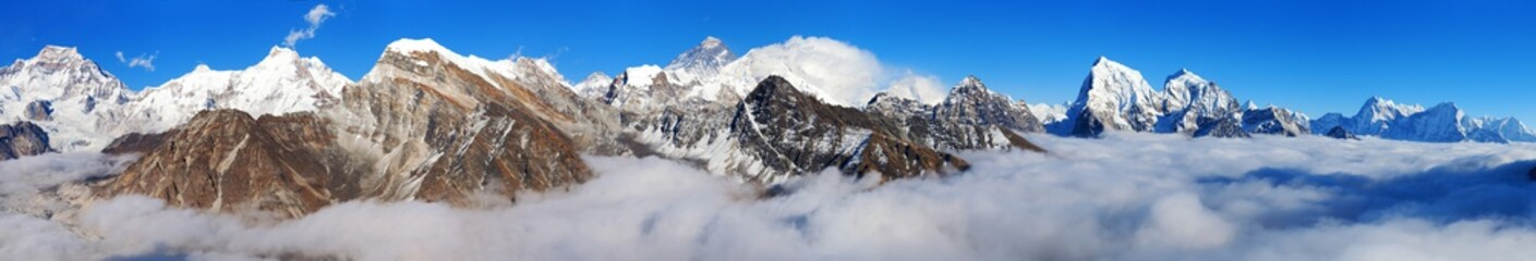Mount Everest, Lhotse, Makalu and Cho Oyu panorama