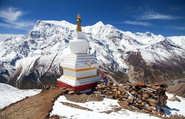 Annapurna range from Ice Lake and stupa